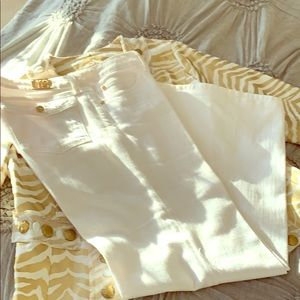 Michael Kors white jeans.